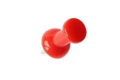 Vista superiore isolata del perno di disegno rosso con il percorso Fotografia Stock
