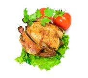 Vista superiore isolata pollo arrostito Fotografie Stock
