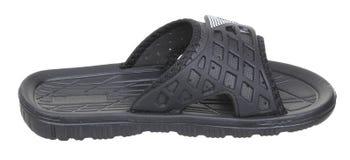 Vista superiore laterale della scarpa da tennis maschio di gomma nera della spiaggia Immagini Stock
