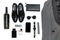 Vista superiore nello stile, nel modo, nell'abbigliamento e nello stile degli uomini immagine stock libera da diritti