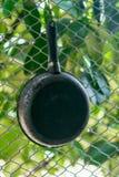 Vista superiore nera della vaschetta di frittura Fotografia Stock Libera da Diritti