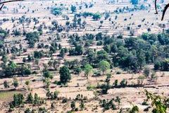 Vista superiore o vista aerea della campagna del villaggio del paesaggio e campo verde, villaggio rurale sugli alberi verdi natur Immagini Stock Libere da Diritti