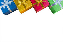 Vista superiore o disposizione piana di nuovo christmas&happy di vario colore lucido Fotografie Stock Libere da Diritti
