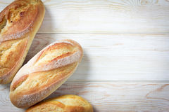 Vista superiore, pane e panini su legno Fotografia Stock