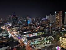 Vista superiore Pattaya Tailandia di notte fotografia stock libera da diritti