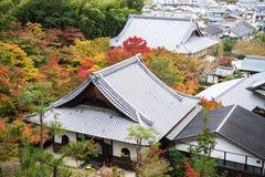 Vista superiore scenica del tempio di Enkoji e dell'orizzonte del nord du della città di Kyoto Immagini Stock Libere da Diritti