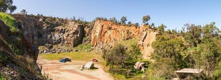 Vista superiore su un sito della cava della montagna nel parco nazionale di Greenmount Fotografia Stock