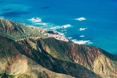 Vista superiore sul villaggio di Almaciga, Tenerife Fotografie Stock