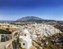 Vista superiore sulla città di Fira, isola di Santorini Fotografie Stock Libere da Diritti