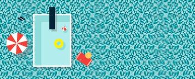 Vista superiore sulla piscina Illustrazione piana di vettore con lo spazio della copia immagini stock libere da diritti