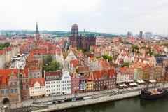 Vista superiore sulla vecchi città di Danzica e fiume di Motlawa Fotografie Stock Libere da Diritti