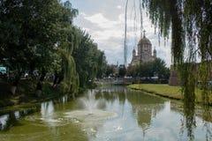 Vista surpreendente da catedral em Fagaras imagens de stock royalty free