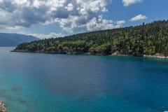Vista surpreendente da praia de Foki Fiskardo, Kefalonia, Grécia Imagens de Stock Royalty Free
