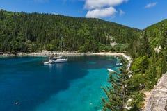 Vista surpreendente da praia de Foki Fiskardo, Kefalonia, Grécia Imagem de Stock