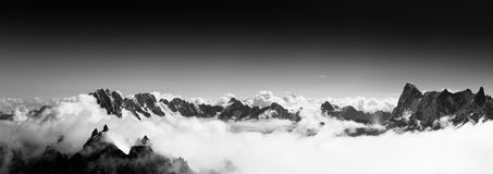 Vista surpreendente de Aiguille du Midi Fotografia de Stock Royalty Free