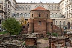 Vista surpreendente de St George Rotunda da igreja em Sófia, Bulgária Imagem de Stock Royalty Free