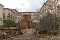 Vista surpreendente de St George Rotunda da igreja em Sófia, Bulgária Imagens de Stock