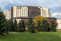 Vista surpreendente do palácio nacional da cultura em Sófia, Bulgária Imagem de Stock Royalty Free