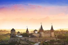 Vista surpreendente no castelo em Kamianets-Podilskyi, Ucrânia Fotos de Stock
