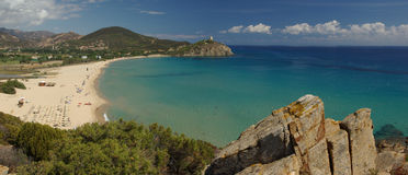 Vista surpreendente - praia de Chia - Sardinia foto de stock