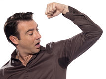 Vista surpreendida homem para suar a mancha que sua Foto de Stock