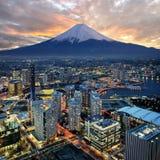 Vista surreale della città di Yokohama Fotografia Stock Libera da Diritti