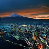 Vista surreale della città di Yokohama Fotografie Stock