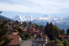 Vista svizzera tradizionale del villaggio immagine stock libera da diritti