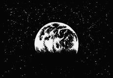 Vista a terra nello spazio cosmico illustrazione di stock