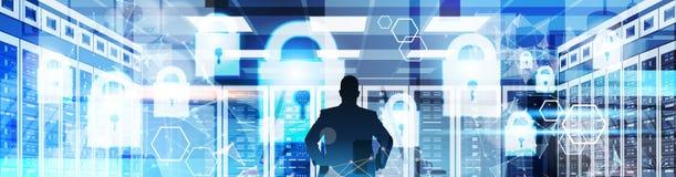 Vista traseira das silhuetas do homem de negócios que trabalham com fundo virtual da privacidade de dados do painel GDPR proteção ilustração royalty free