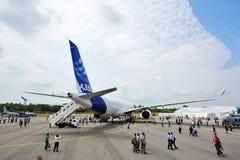 Vista traseira de Airbus A350-900 XWB em Singapura Airshow Foto de Stock