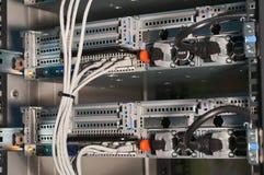Vista traseira de servidores poderosos do computador Fotos de Stock