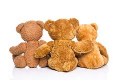 A vista traseira de três ursos de peluche isolou - o conceito para a família. foto de stock