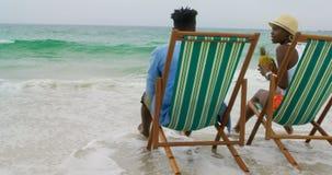 Vista traseira do suco de abacaxi bebendo dos pares afro-americanos na praia 4k video estoque