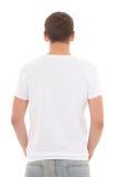 Vista trasera de la camiseta blanca en un hombre aislado Foto de archivo