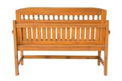 Vista trasera de la silla de madera larga aislada en blanco Fotografía de archivo libre de regalías