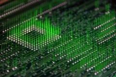 Vista trasera de la tarjeta de circuitos en el movimiento Foto de archivo libre de regalías