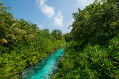 Vista tropicale della corrente dal ponte alle Maldive Fotografia Stock