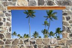 Vista tropicale delle palme della finestra della parete di massoneria di pietra Fotografia Stock