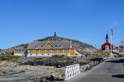 Vista turística de Nuuk, capital de Groenlandia Imagen de archivo