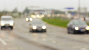 Vista Unfocused sugli ingorghi stradali in Lituania, scena vaga archivi video