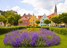 Vista urbana colorida de Landshut, Alemania Imagen de archivo