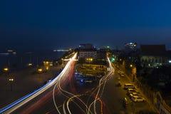 Vista urbana della città di Phnom Penh di notte, la Cambogia fotografia stock