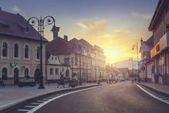 Vista urbana di alba scenica Fotografia Stock