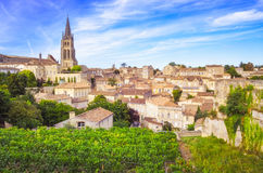 Vista variopinta del paesaggio del villaggio di Saint Emilion nella regione del Bordeaux Fotografia Stock