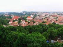 Vista a vecchio Vilnius dal castello di Gediminas Fotografia Stock