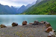 Vista verde del ghiacciaio e dell'acqua Fotografia Stock