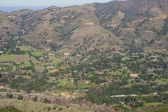 Vista verso Carmel Valley da Garland Ranch Regional Park, California immagine stock libera da diritti