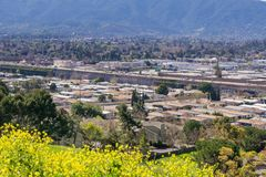 Vista verso Guadalupe Freeway dalla collina di comunicazioni, San José, California immagine stock libera da diritti
