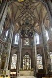 Vista verso l'altare principale di Lorenzkirche a Norimberga Immagini Stock